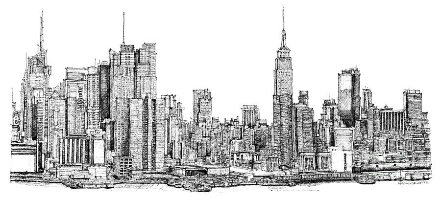 New York Skyline In Ink Drawing