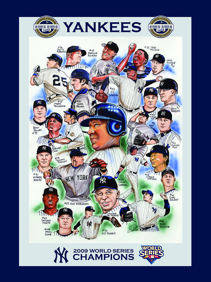 New York Yankees 2009 World Series Champions Painting  - New York Yankees 2009 World Series Champions Fine Art Print
