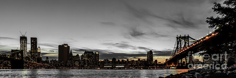 Manhattan Photograph - New Yorks Skyline At Night Colorkey by Hannes Cmarits