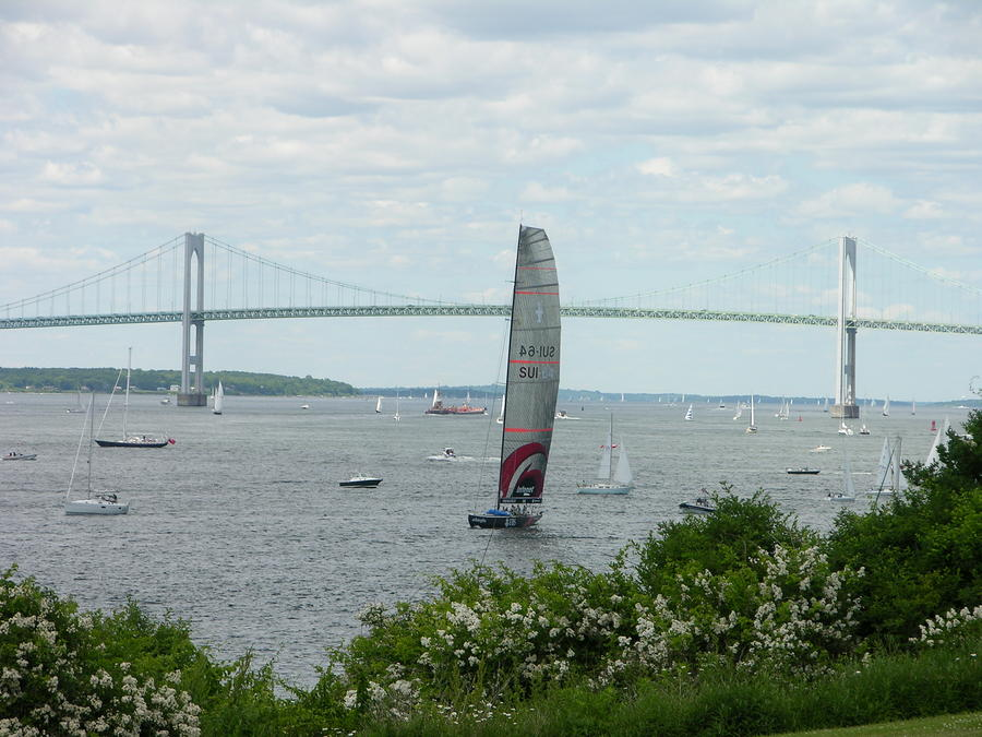 Newport Bridge - Sailboat Photograph  - Newport Bridge - Sailboat Fine Art Print