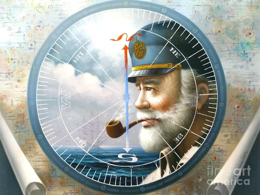 News  Map Captain  Or  Sea Captain Painting  - News  Map Captain  Or  Sea Captain Fine Art Print