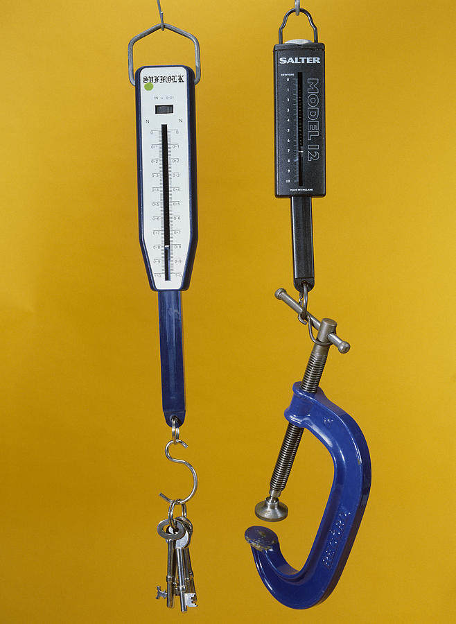 Newton Meters Weighing Objects Photograph