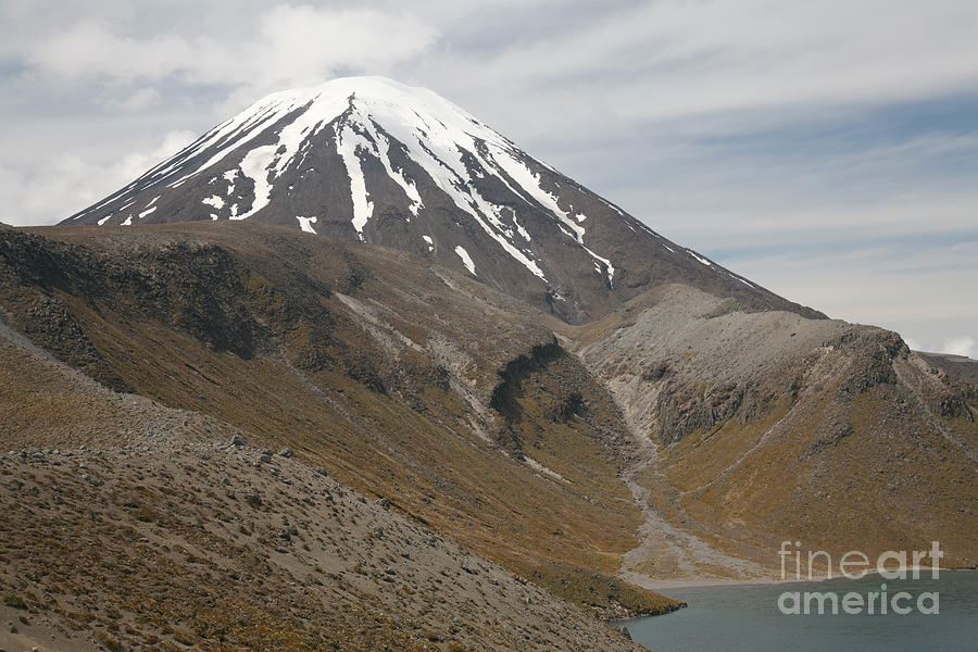 Ngauruhoe Cone And Upper Tama Lake Photograph  - Ngauruhoe Cone And Upper Tama Lake Fine Art Print