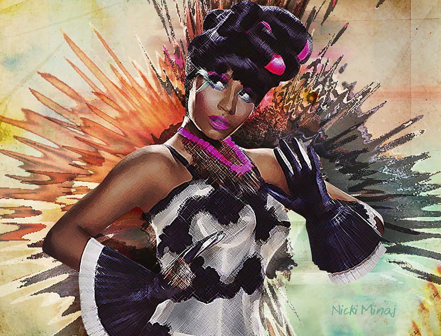 Nicki Minaj Splatter By Gbs Digital Art  - Nicki Minaj Splatter By Gbs Fine Art Print