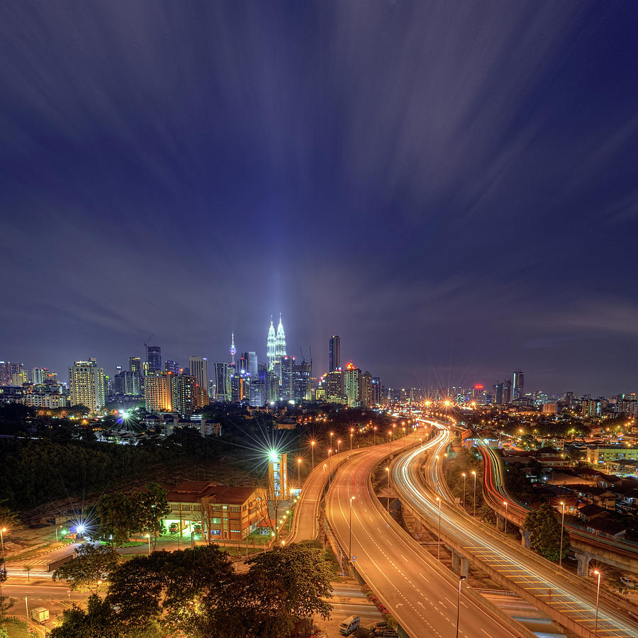Square Photograph - Night At  Kuala Lumpur by Zackri Zims Photography