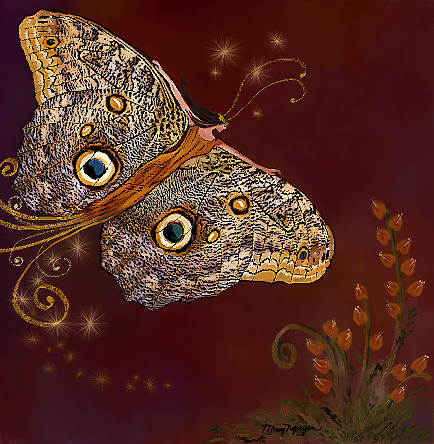 Night Butterfly  Digital Art  - Night Butterfly  Fine Art Print