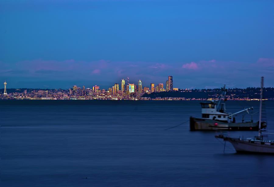 Night Descending On Seattle Photograph