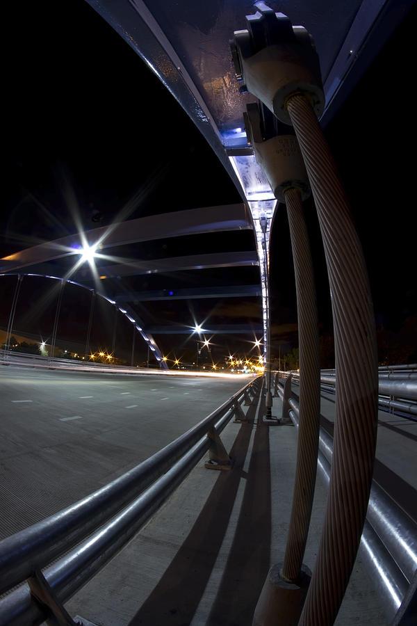 Night Fisheye Bridge Scene Photograph