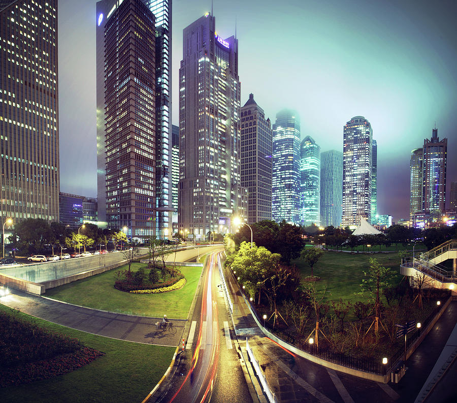 Night Fog Over Shanghai Cityscape Photograph  - Night Fog Over Shanghai Cityscape Fine Art Print