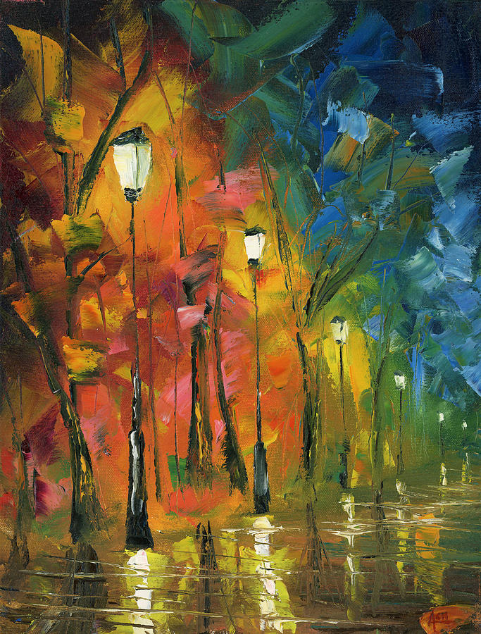 Oil Painting Art Artwork Acrylic Impressionist Impressionism Palette Knife Texture Giclee Print Reproduction Colorful Bright Professional Street Road City Town Cities Europe Paris France Italy Spain Venice Canton Federal Hill Fells Point Patterson Park Baltimore Lights Posts Clouds Trees Path Forest Leaves Fall Autumn Reflection Water Rain Storm Evening District Lamp Night Evening Midnight Sky Color Colour Colourful Painting - Night In The Park by Ash Hussein