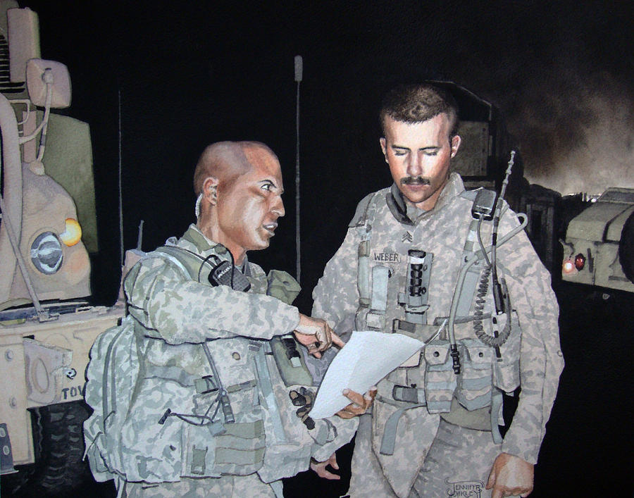 Night Mission Briefing Painting