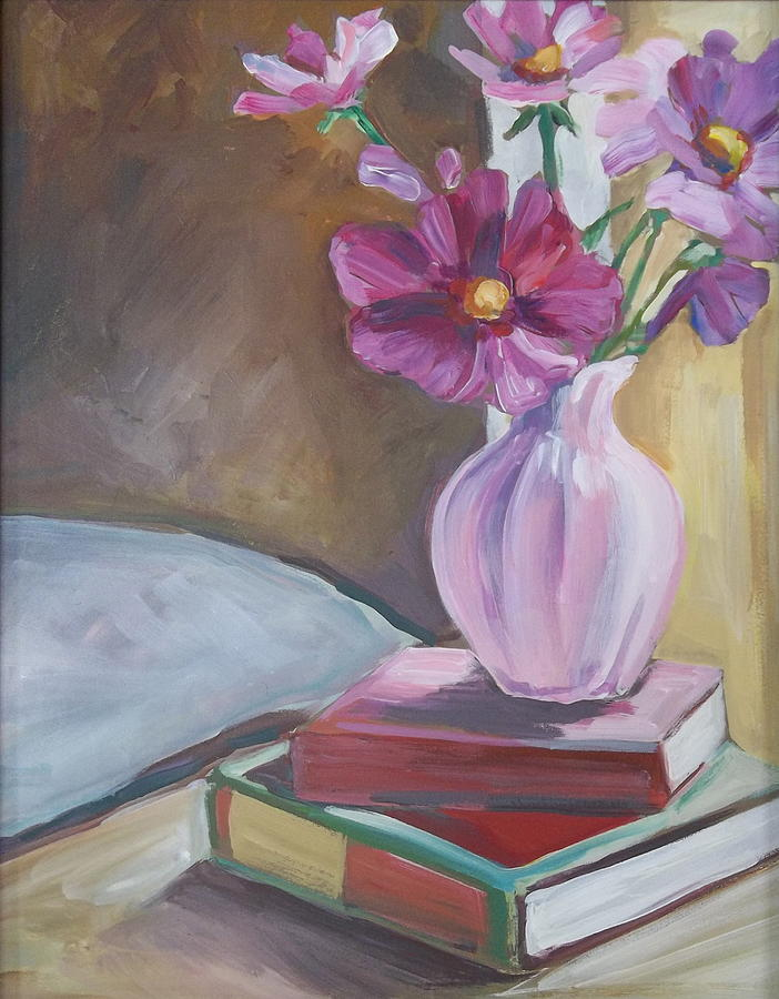 Night Stand With Flowers And Books Painting  - Night Stand With Flowers And Books Fine Art Print