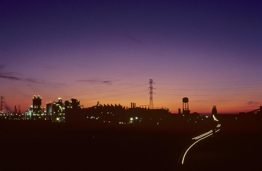 Night View Of An Industrial Plant Photograph