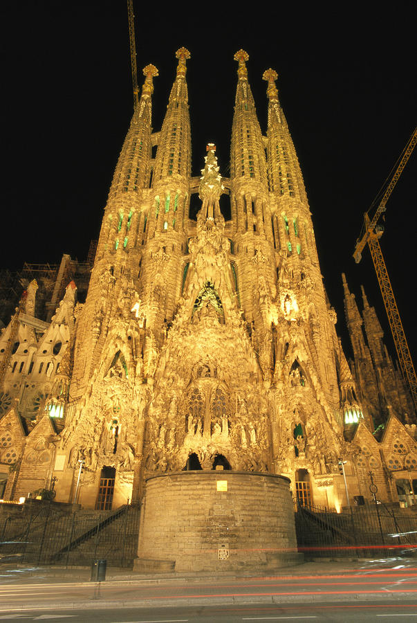 Night View Of Antoni Gaudis La Sagrada Photograph  - Night View Of Antoni Gaudis La Sagrada Fine Art Print