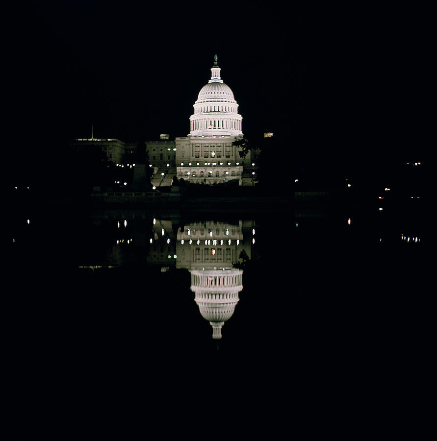 Night View Of The Capitol Photograph  - Night View Of The Capitol Fine Art Print