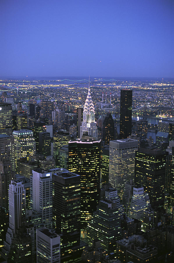 Night View Of The Manhattan Skyline Photograph  - Night View Of The Manhattan Skyline Fine Art Print
