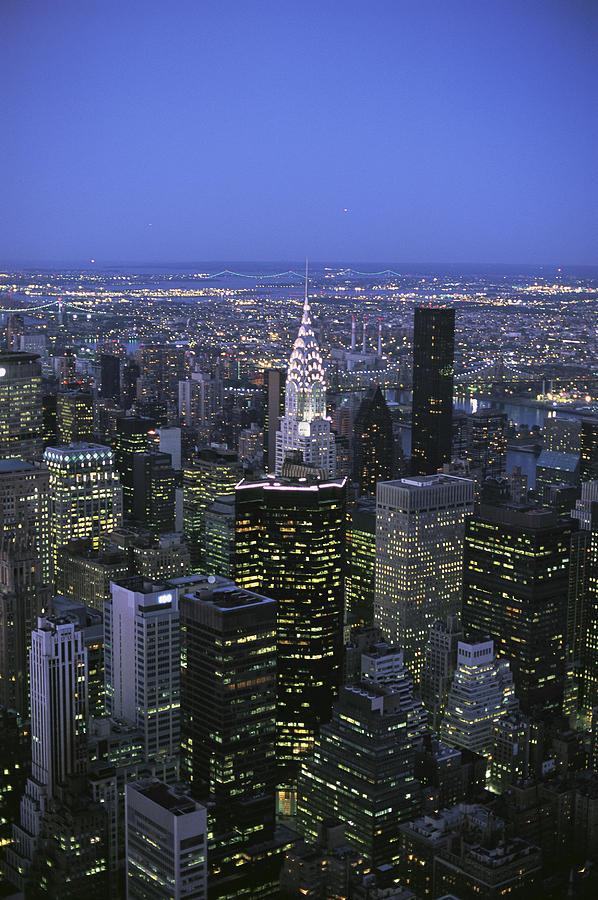 Night View Of The Manhattan Skyline Photograph