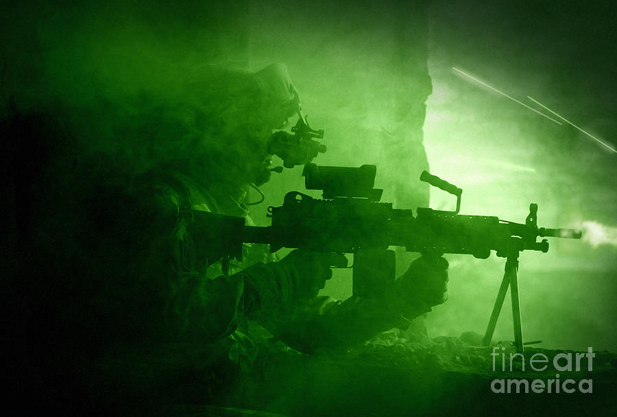 Night Vision View Of A U.s. Army Ranger Photograph  - Night Vision View Of A U.s. Army Ranger Fine Art Print