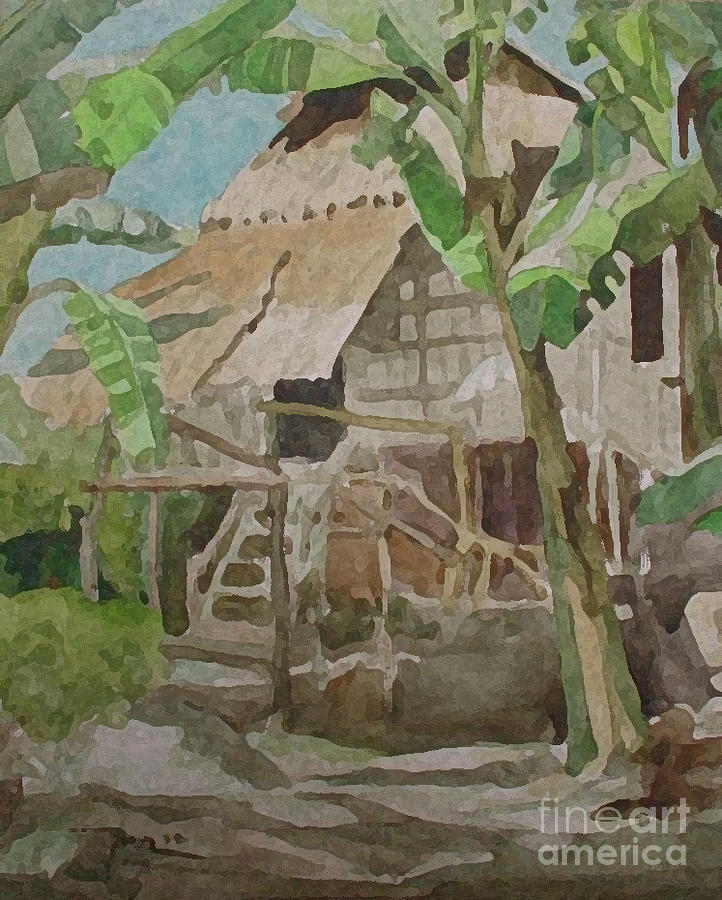Nipa Hut In Bohol Painting