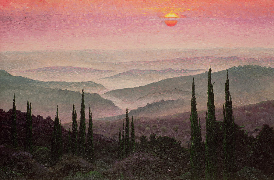 Landscape; Sunset; Mist; Cypress; Hills; Panorama; Hill; Tree; Trees; Green; Grass; Grassy; Bush; Bushes; Sun; Red Sky; Orange Sky Painting - No. 126 by Trevor Neal
