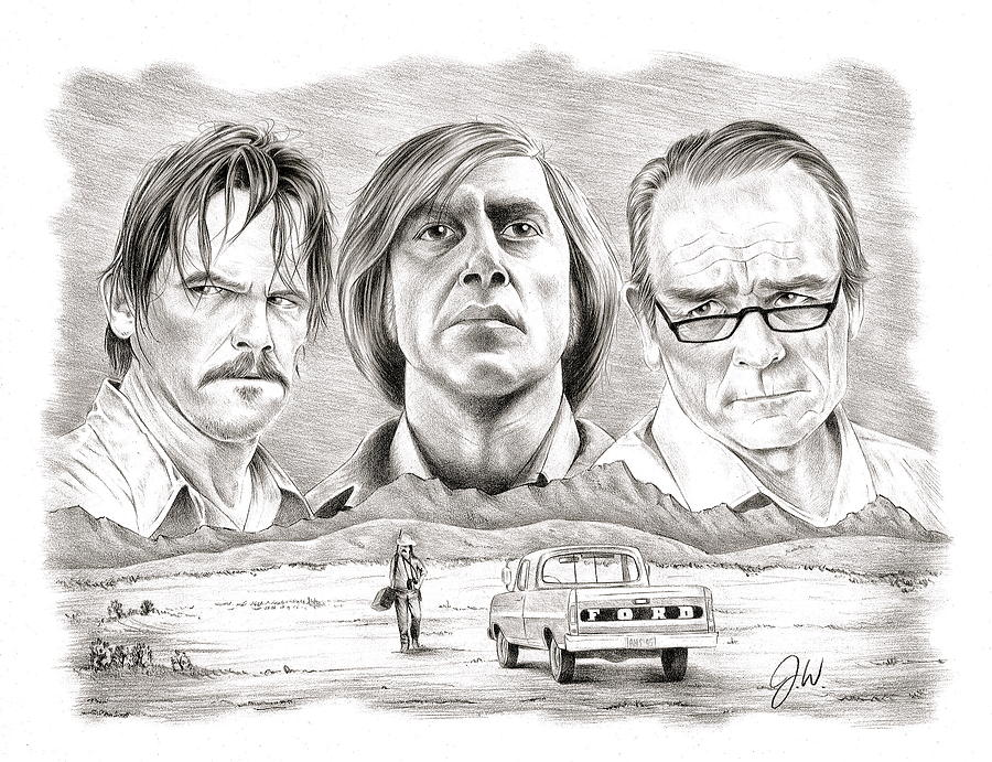 Josh Brolin Drawing - No Country For Old Men by Jamie Warkentin