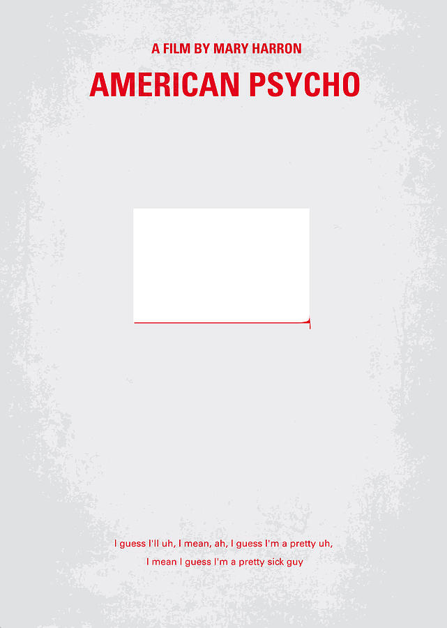 No005 My American Psyhco Minimal Movie Poster Digital Art  - No005 My American Psyhco Minimal Movie Poster Fine Art Print