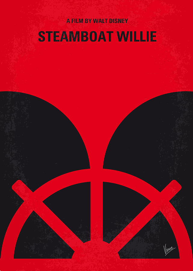 No085 My Steamboat Willie Minimal Movie Poster Digital Art