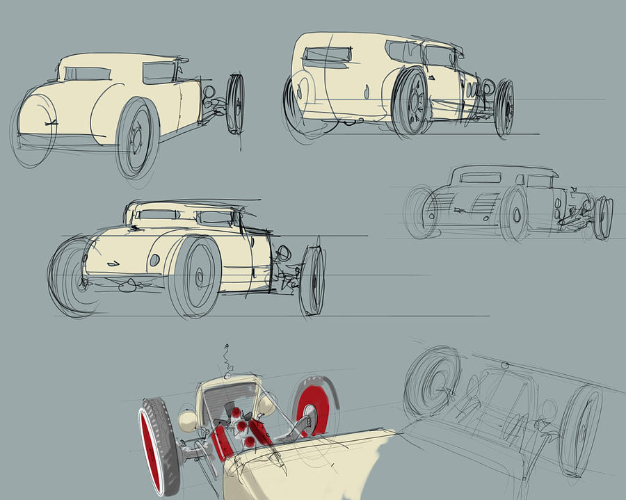 Hot Rod Drawing - No.12 Variations by Jeremy Lacy