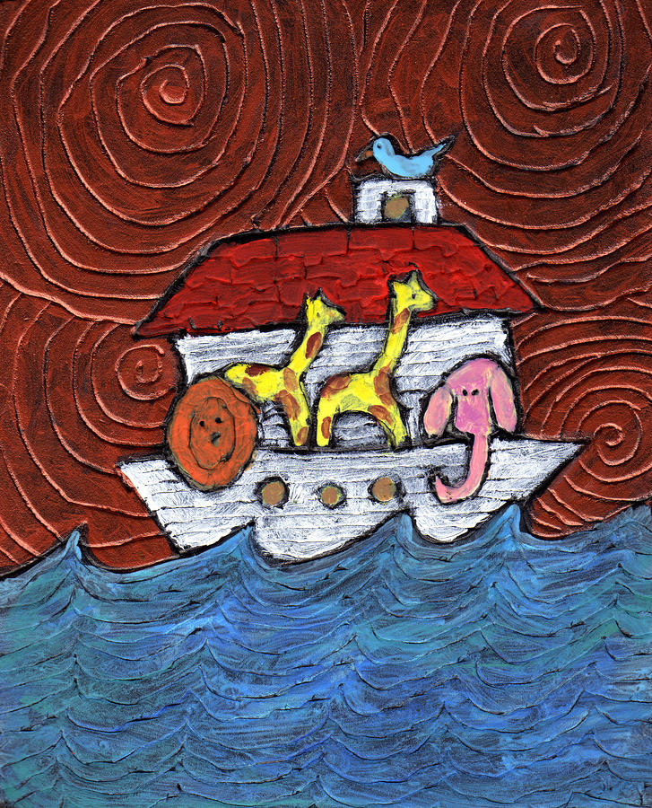 Noahs Ark With Blue Bird Painting
