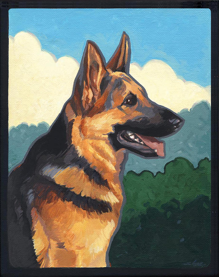 Noble German Shepherd Dog Painting  - Noble German Shepherd Dog Fine Art Print
