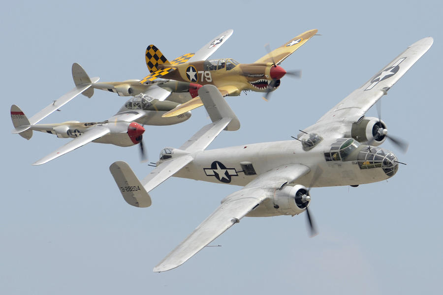 North American B-25j Mitchell Curtiss P-40n Warhawk Lockheed P-38l Lightning March 14 2011 Photograph  - North American B-25j Mitchell Curtiss P-40n Warhawk Lockheed P-38l Lightning March 14 2011 Fine Art Print