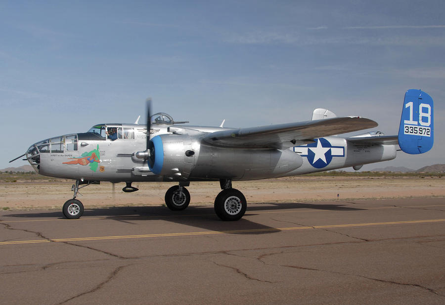 North American B-25j Mitchell Maid In The Shade N125az Casa Grande Airport Arizona March 5 2011 Photograph