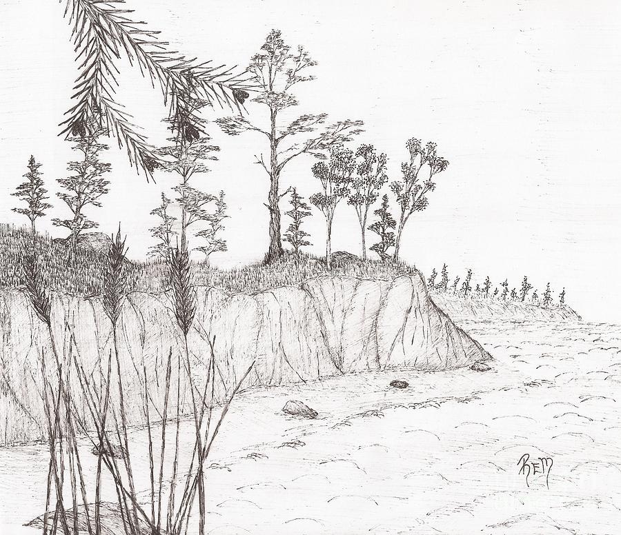 Pen And Ink Drawing - North Shore Memory... - Sketch by Robert Meszaros