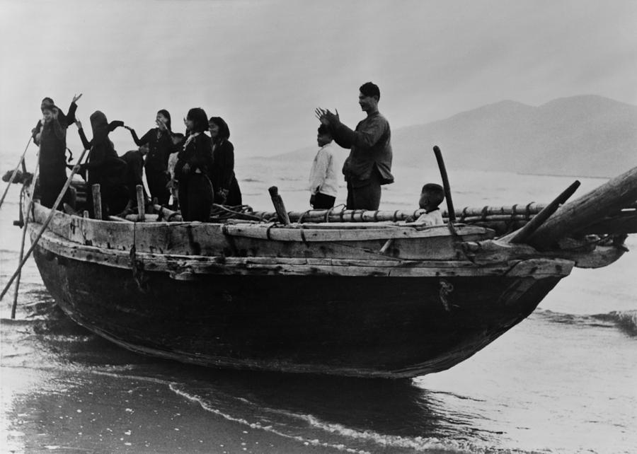 North Vietnamese Refugees Arrive At Da Photograph  - North Vietnamese Refugees Arrive At Da Fine Art Print