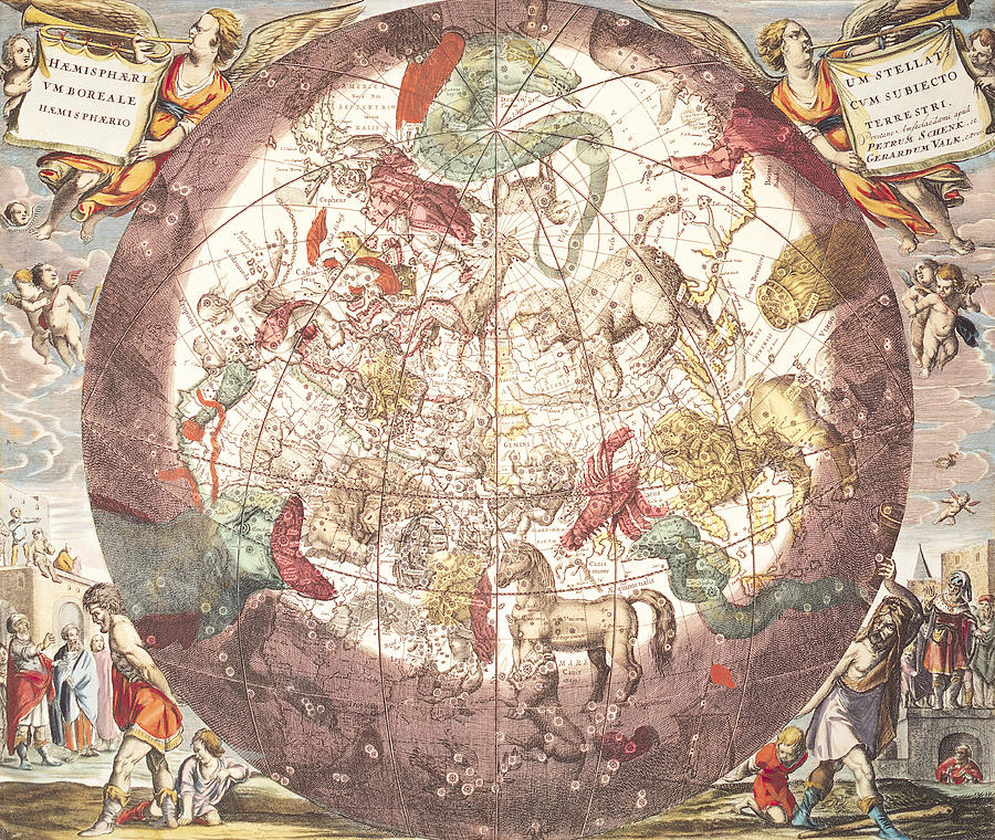 Northern (boreal) Hemisphere Drawing - Northern Boreal Hemisphere From The Celestial Atlas by Pieter Schenk