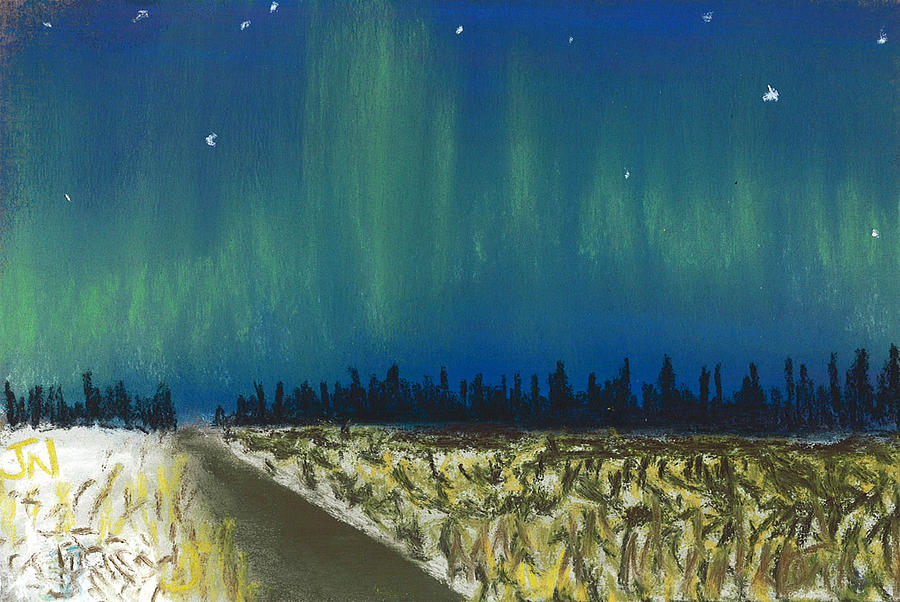 Northern Lights Road Trip Pastel  - Northern Lights Road Trip Fine Art Print