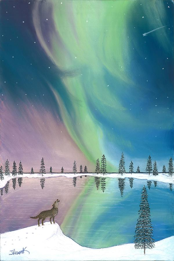 Northern Lights The Wolf And The Comet  Painting  - Northern Lights The Wolf And The Comet  Fine Art Print