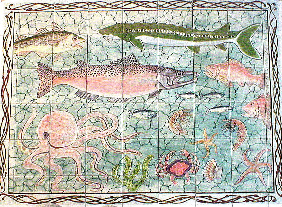 Northwest Fish Mural Painting  - Northwest Fish Mural Fine Art Print