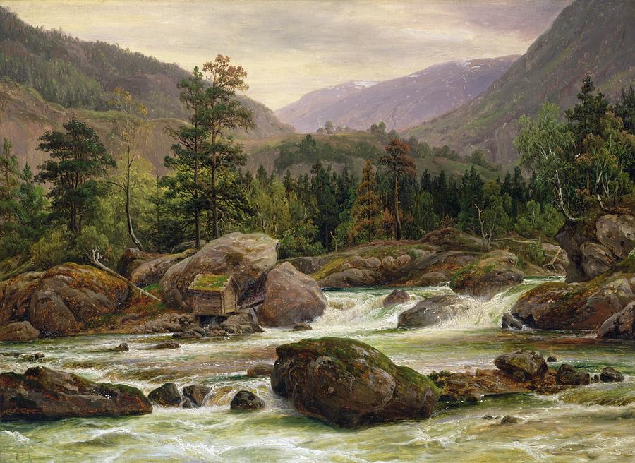 Norwegian Waterfall Painting