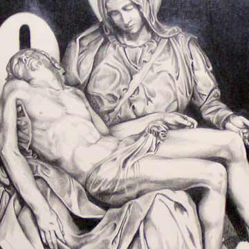 Nothing Can Be Added - Close Up Pieta Drawing
