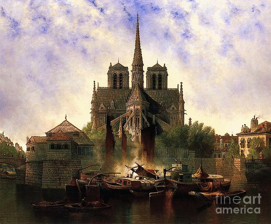 notre dame cathedral paris painting by pg reproductions