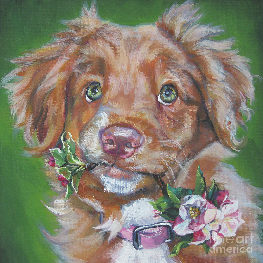 Nova Scotia Duck Tolling Retriever Puppy Painting  - Nova Scotia Duck Tolling Retriever Puppy Fine Art Print
