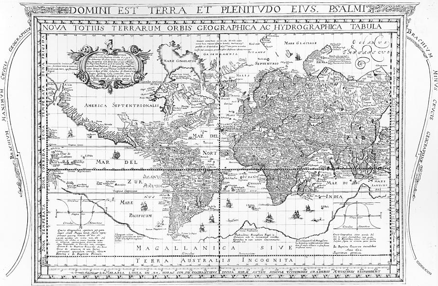 Maps Drawing - Nova Totius Terrarum Orbis Geographica Ac Hydrographica Tabula by Dutch School