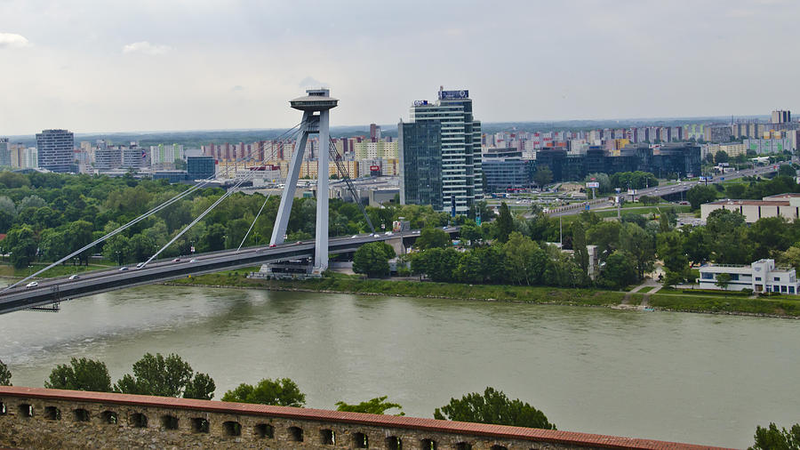 Bratislava Castle Photograph - Novy Most Bridge - Bratislava by Jon Berghoff