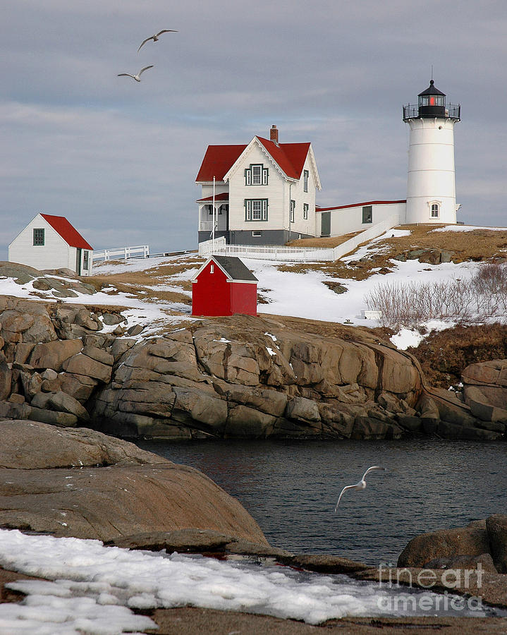 Nubble Light - Cape Neddick Lighthouse Seascape Landscape Rocky Coast Maine Photograph