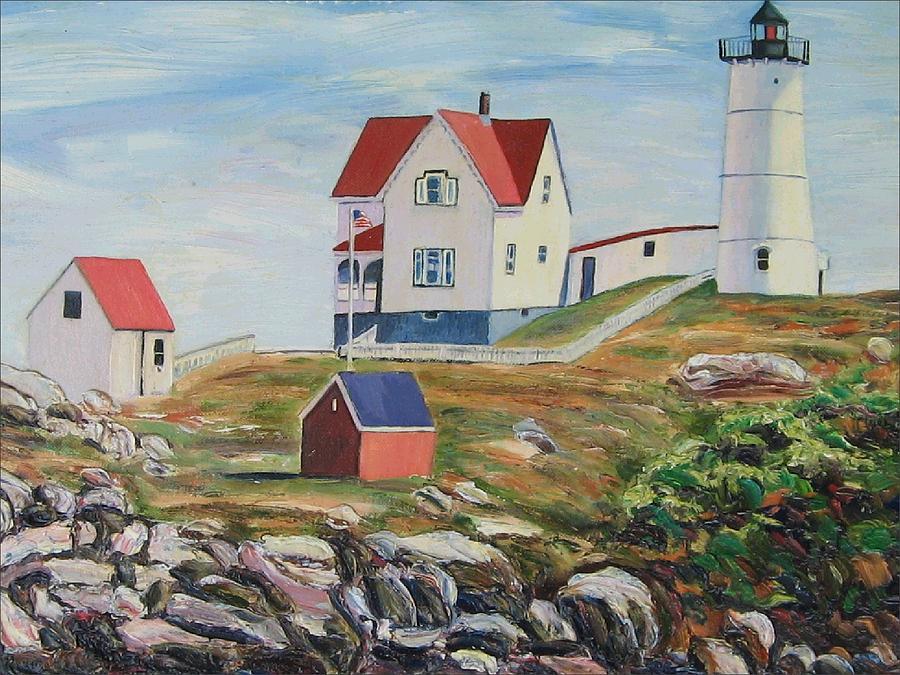 Nubble Light House Maine Painting