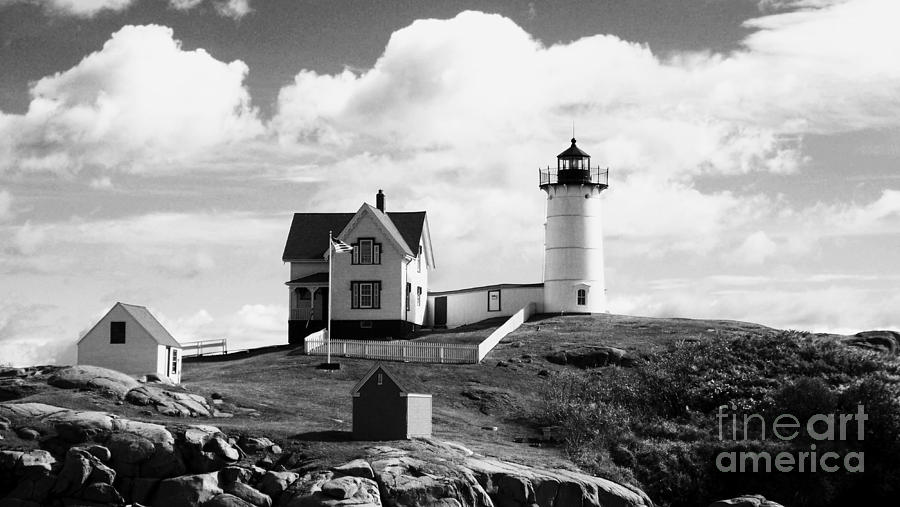 Nubble Lighthouse - Cape Neddick Maine Digital Art  - Nubble Lighthouse - Cape Neddick Maine Fine Art Print