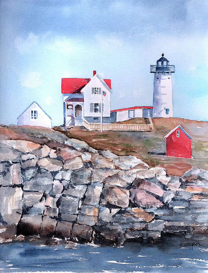Nubble Lighthouse - Maine Painting  - Nubble Lighthouse - Maine Fine Art Print