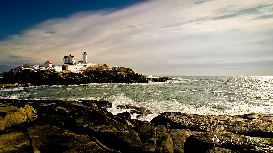 Nubble Lighthouse Winter Solstice Sunset Photograph  - Nubble Lighthouse Winter Solstice Sunset Fine Art Print