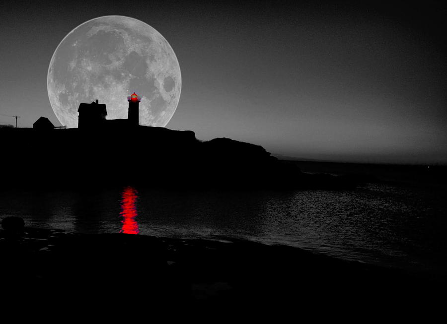 Nubble Moon Photograph  - Nubble Moon Fine Art Print